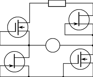Schematic diagram of bridge detector with two pairs of FETs