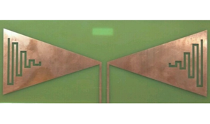 Copper modified bow-tie antenna on FR4 substrate