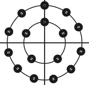 Circular constellation (5,11) for 16-point