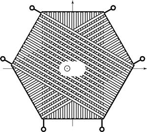 Structure of a nonreciprocal six-pole transformer