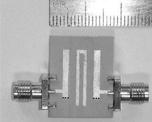 Photo of a third-order microstrip BPF prototype