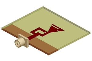 3D schematic view of circularly-polarized microstrip antenna