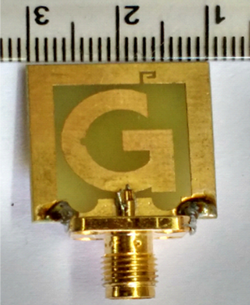 Proposed compact quad-band circularly polarized (CP) G-shaped printed antenna