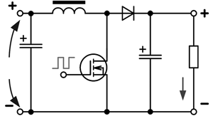Step-down converter without galvanic separation of input and output