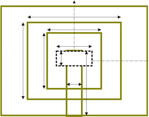 Geometry of the aperture couple stacked patch antenna