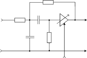 Active bandpass RC-filter on the basis of noninverting voltage amplifier
