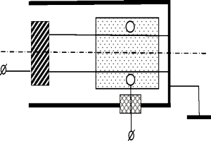 Circuit of triode HGD system in case of positive potential at controlling electrode