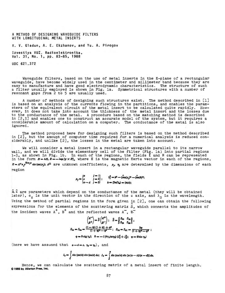 Gladun, V.V. A method of designing waveguide filters with longitudinal metal inserts (1988).  doi: 10.3103/S073527271988010182.