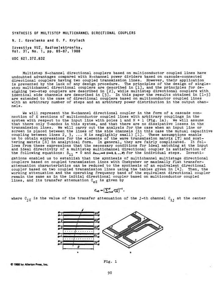 Kovalenko, N.I. Synthesis of multistep multichannel directional couplers (1988).  doi: 10.3103/S073527271988010194.