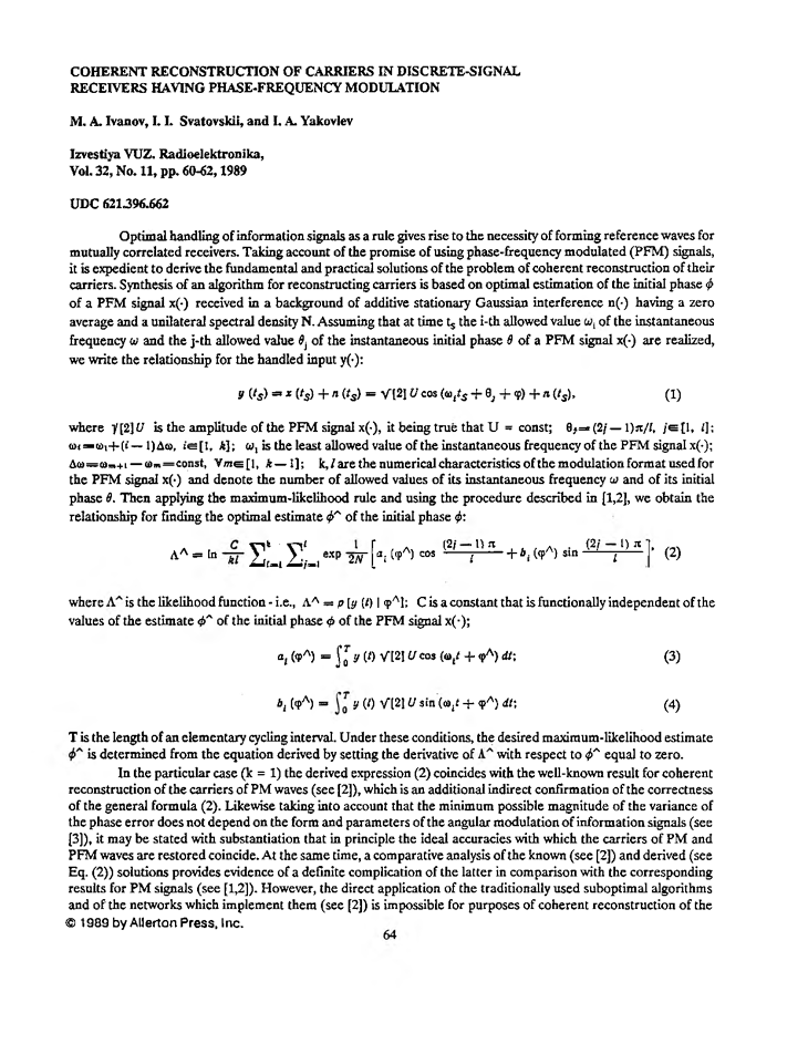 Coherent reconstruction of carriers in discrete-signal