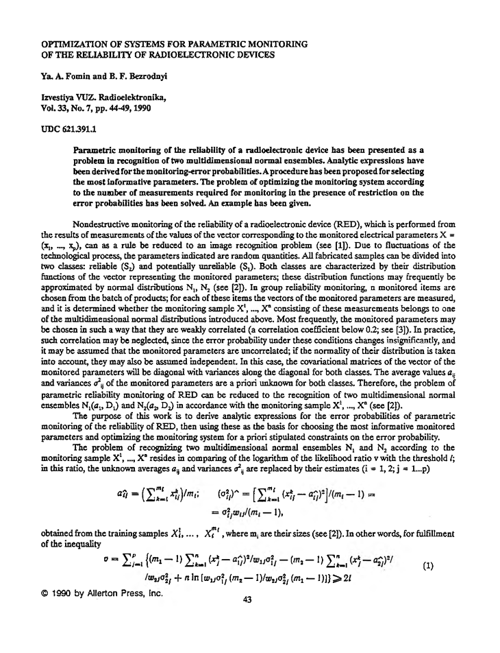 Fomin, Y.A. Optimization of systems for parametric monitoring of the reliability of radioelectronic devices (1990).  doi: 10.3103/S07352727199007010X.