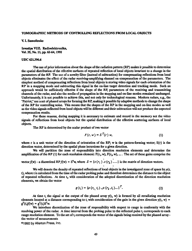 Samoilenko, V.I. Tomographic methods of controlling reflections from local objects (1992).  doi: 10.3103/S073527271992110128.