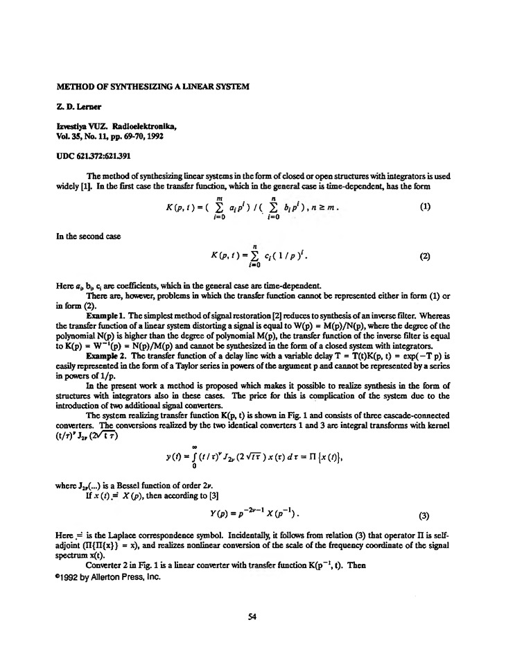 Lerner, Z.D. Method of synthesizing a linear system (1992).  doi: 10.3103/S073527271992110141.