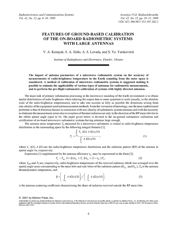 Komyak, V.A. Features of ground-based calibration of the on-board radiometric systems with large antennas (1999).  doi: 10.3103/S07352727199912002X.