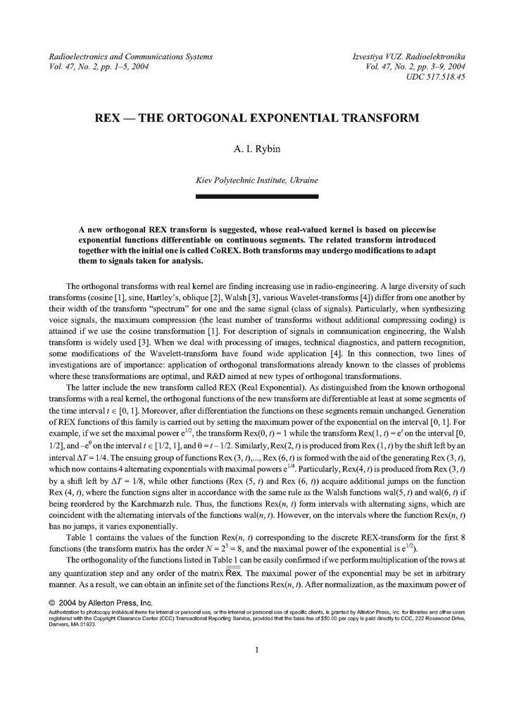 Rybin, A.I. REX — the ortogonal exponential transform (2004).  doi: 10.3103/S0735272704020013.