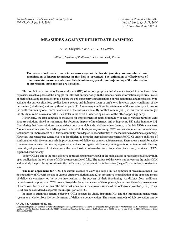 Shlyakhin, V.M. Measures against deliberate jamming (2004).  doi: 10.3103/S073527270403001X.