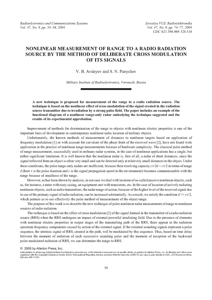 Avdeyev, V.B. Nonlinear measurement of range to a radio radiation source by the method of deliberate cross modulation of its signals (2004).  doi: 10.3103/S0735272704090110.