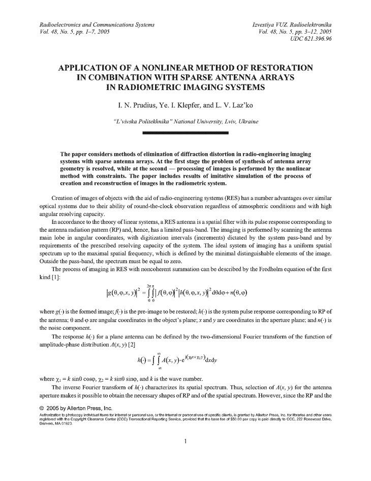 Prudyus, I.N. Application of a nonlinear method of restoration in combination with sparse antenna arrays in radiometric imaging systems (2005).  doi: 10.3103/S0735272705050018.