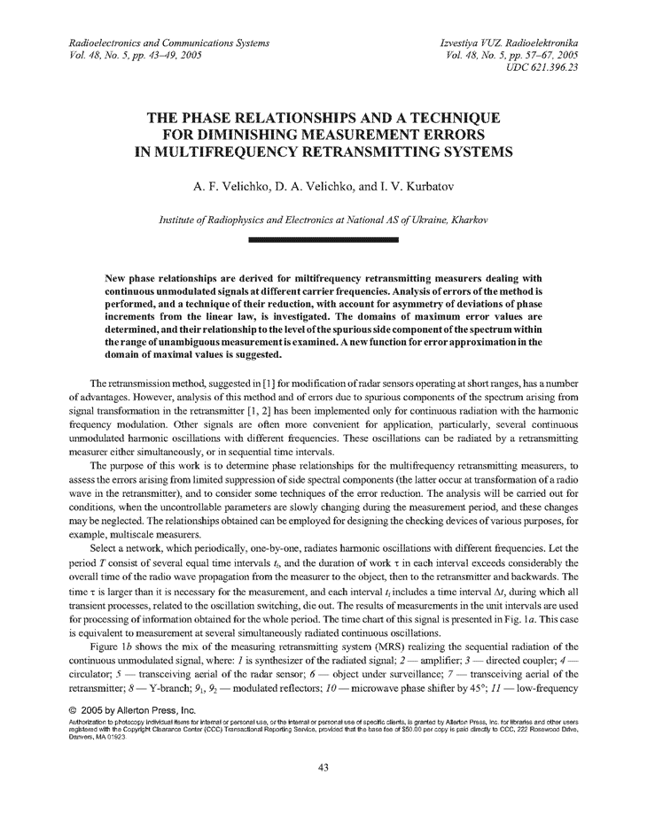 Velychko, A.F. The phase relationships and a technique for diminishing measurement errors in multifrequency retransmitting systems (2005).  doi: 10.3103/S0735272705050080.
