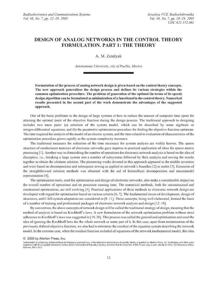 Zemliak, A.M. Design of analog networks in the control theory formulation. Part 1: The theory (2005).  doi: 10.3103/S0735272705070034.