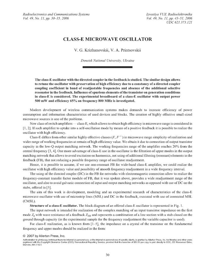 Krizhanovski, V.G. Class-E microwave oscillator (2006).  doi: 10.3103/S0735272706110069.