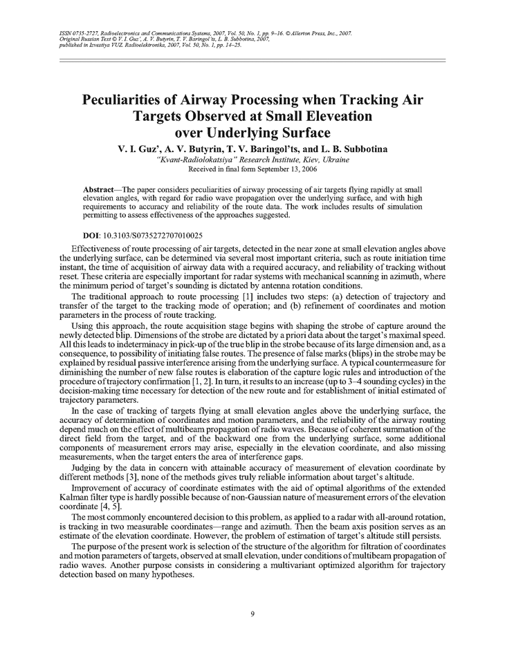 Gouz, V.I. Peculiarities of airway processing when tracking air targets observed at small elevation over underlying surface (2007).  doi: 10.3103/S0735272707010025.