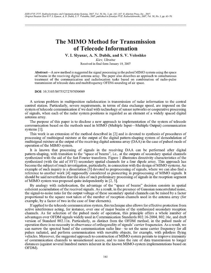 Slyusar, V.I. The MIMO method for transmission of telecode information (2007).  doi: 10.3103/S0735272707030089.
