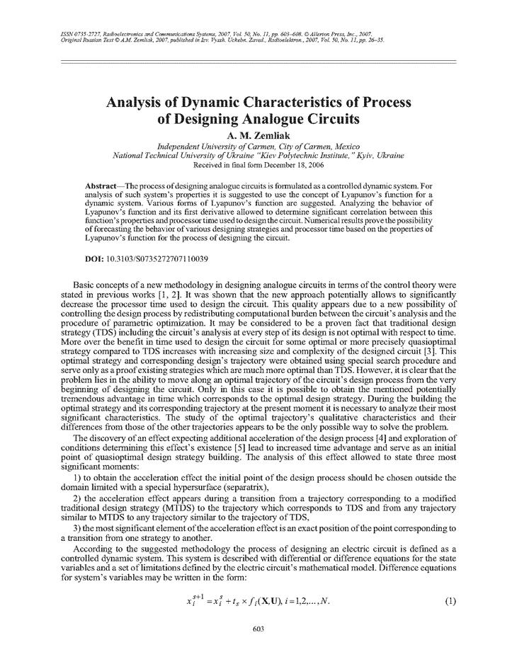 Zemliak, A.M. Analysis of dynamic characteristics of process of designing analogue circuits (2007).  doi: 10.3103/S0735272707110039.