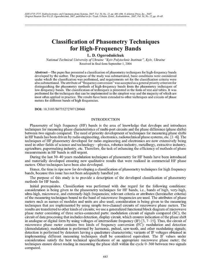 Ogorodniichuk, L.D. Classification of phasometry techniques for high-frequency bands (2007).  doi: 10.3103/S0735272707120060.