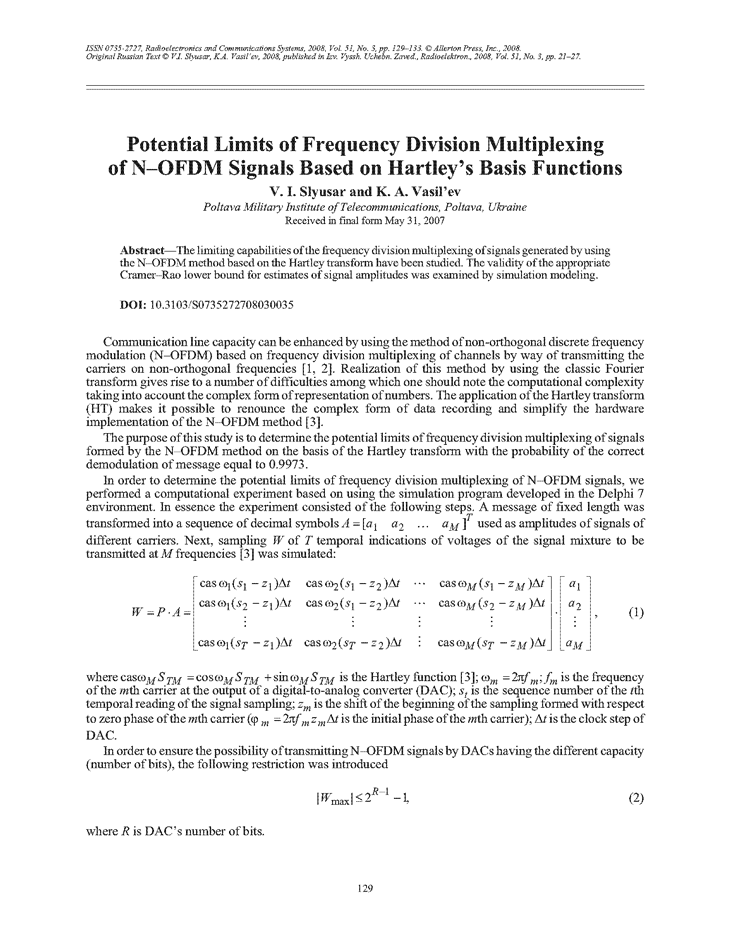 Slyusar, V.I. Potential limits of frequency division multiplexing of N-OFDM signals based on Hartley's basis functions (2008).  doi: 10.3103/S0735272708030035.