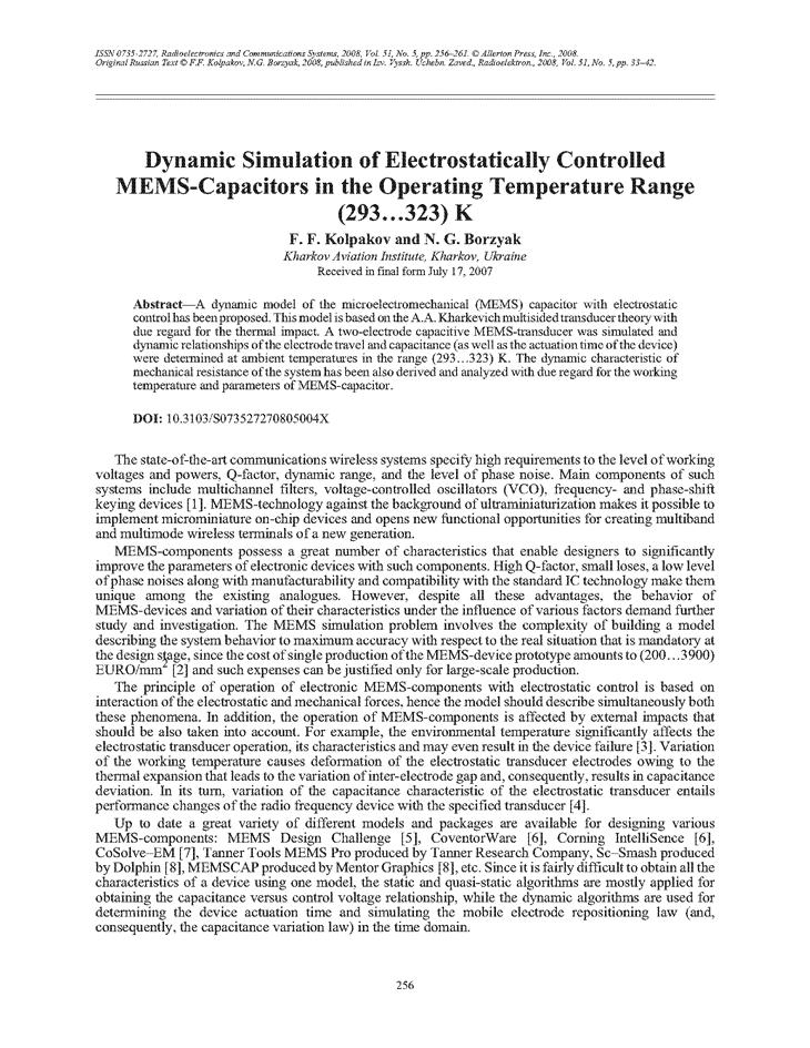 Kolpakov, F.F. Dynamic simulation of electrostatically controlled MEMS-capacitors in the operating temperature range (293…323) K (2008).  doi: 10.3103/S073527270805004X.
