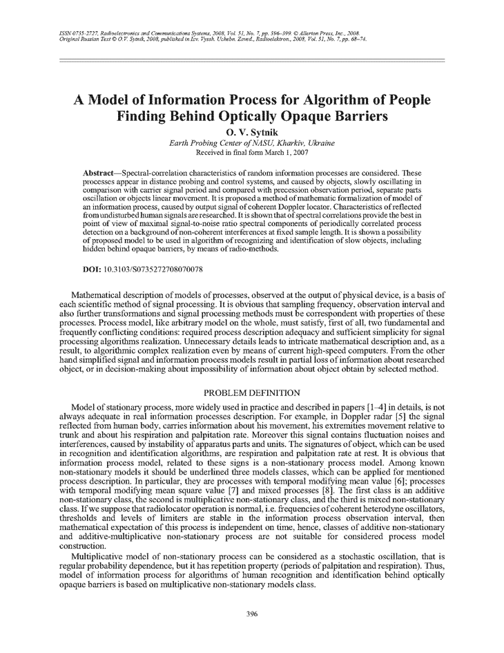 Sytnik, O.V. A model of information process for algorithm of people finding behind optically opaque barriers (2008).  doi: 10.3103/S0735272708070078.