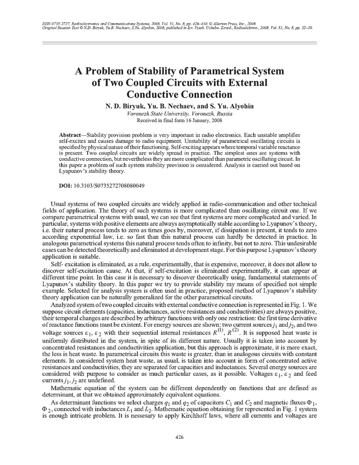 Biryuk, N.D. A problem of stability of parametrical system of two coupled circuits with external conductive connection (2008).  doi: 10.3103/S0735272708080049.