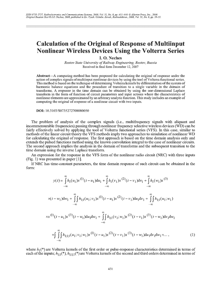 Neches, I.O. Calculation of the original of response of multiinput nonlinear wireless devices using the Volterra series (2008).  doi: 10.3103/S0735272708080050.