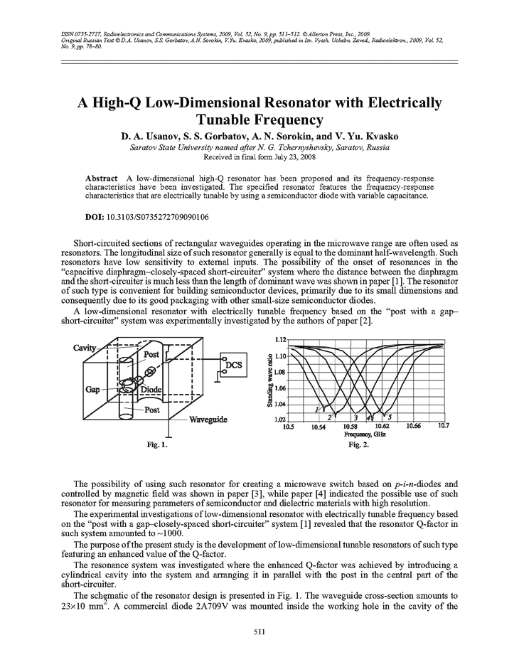 Usanov, D.A. A high-Q low-dimensional resonator with electrically tunable frequency (2009).  doi: 10.3103/S0735272709090106.