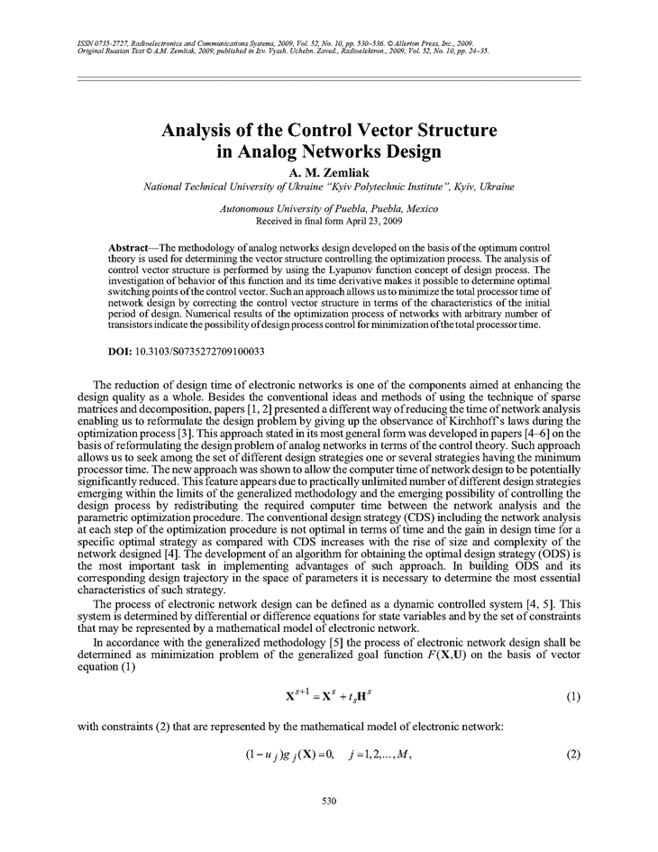 Zemliak, A.M. Analysis of the control vector structure in analog networks design (2009).  doi: 10.3103/S0735272709100033.