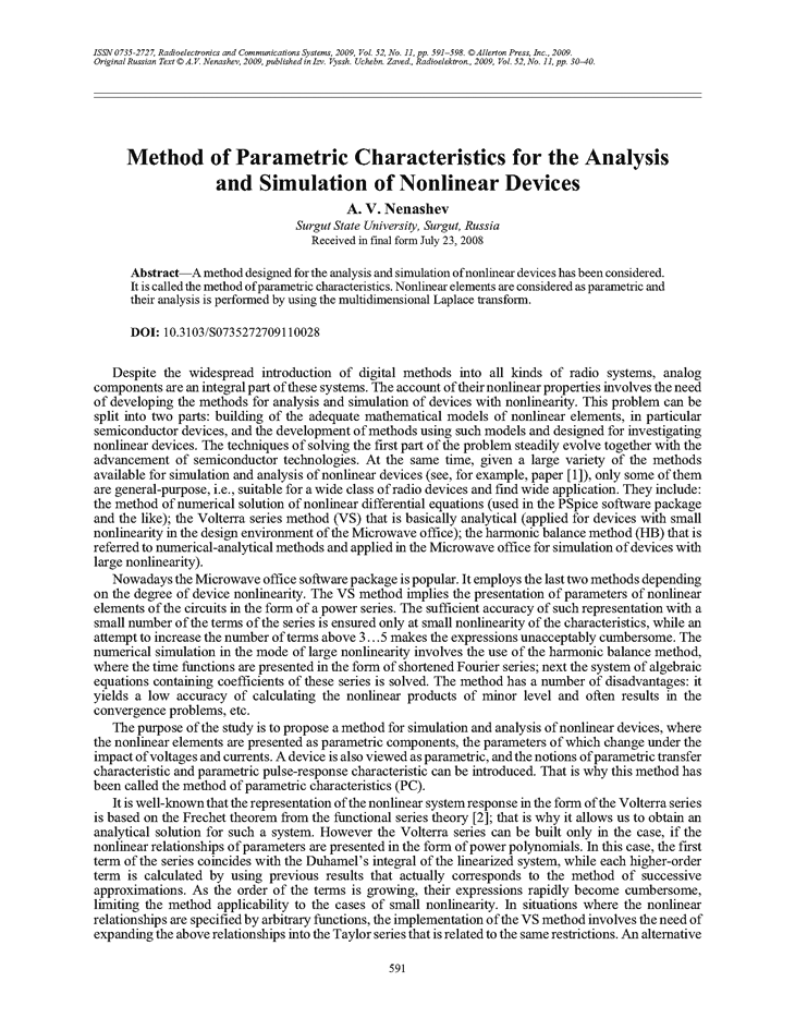 Nenashev, A.V. Method of parametric characteristics for the analysis and simulation of nonlinear devices (2009).  doi: 10.3103/S0735272709110028.
