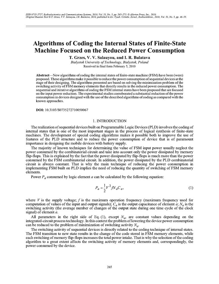 Grzes, T. Algorithms of coding the internal states of finite-state machine focused on the reduced power consumption (2010).  doi: 10.3103/S0735272710050067.