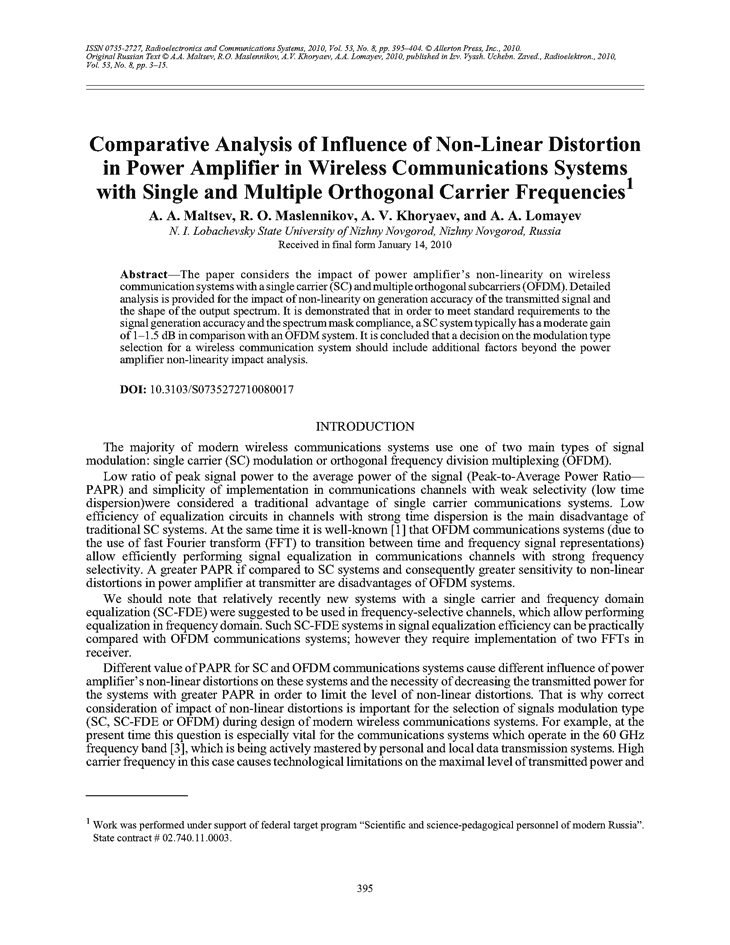 Comparative analysis of influence of non-linear distortion in power