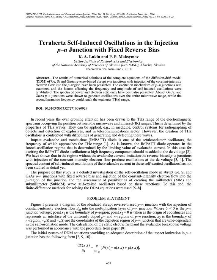 Lukin, K.A. Terahertz self-induced oscillations in the injection p–n junction with fixed reverse bias (2010).  doi: 10.3103/S0735272710080029.