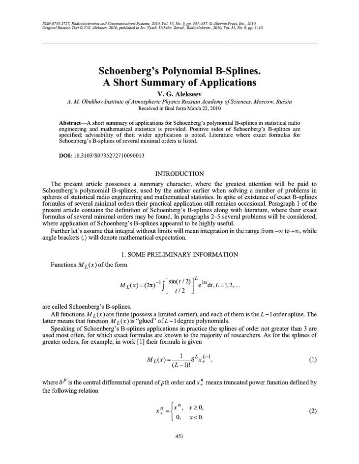 Schoenberg's polynomial B-splines  A short summary of