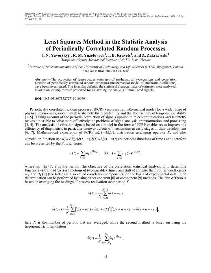 Yavorskyj, I.N. Least squares method in the statistic analysis of periodically correlated random processes (2011).  doi: 10.3103/S0735272711010079.