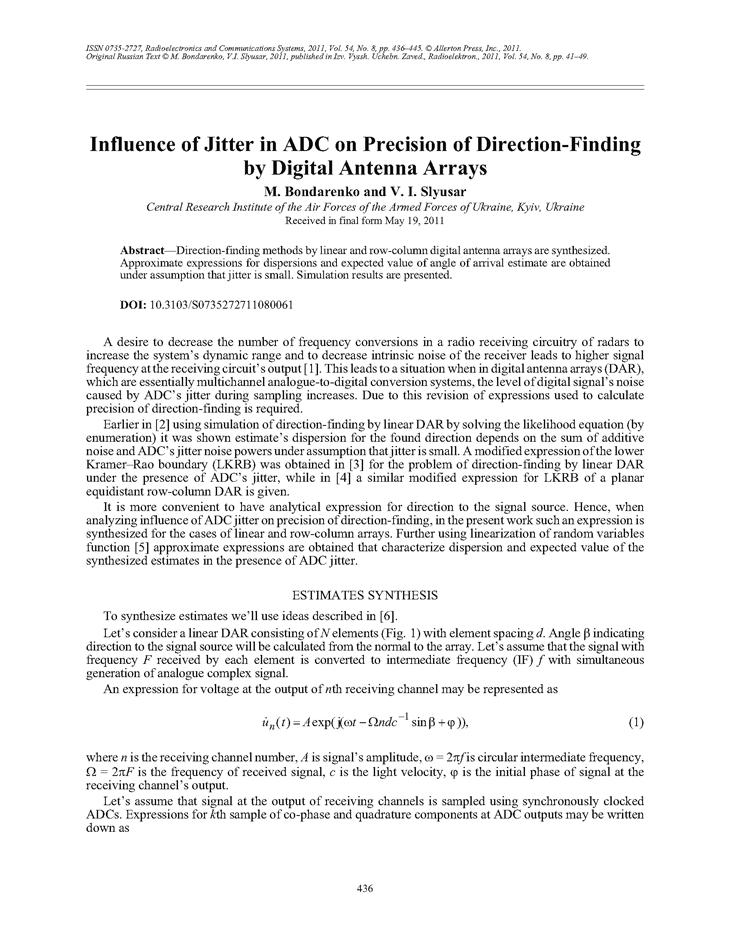 Bondarenko, M. Influence of jitter in ADC on precision of direction-finding by digital antenna arrays (2011).  doi: 10.3103/S0735272711080061.