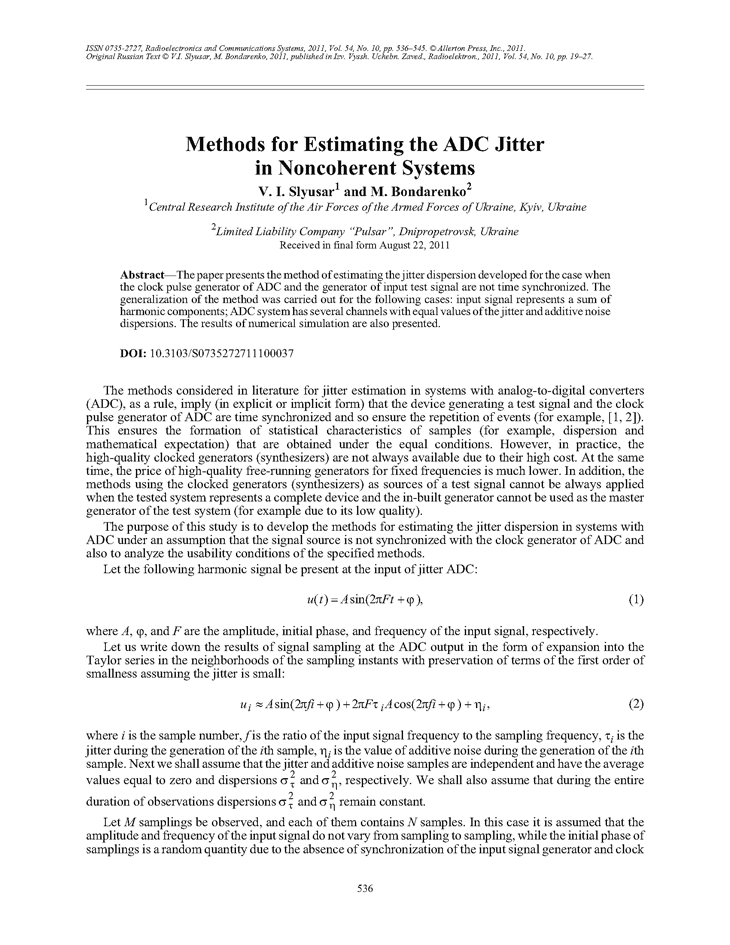 Slyusar, V.I. Methods for estimating the ADC jitter in noncoherent systems (2011).  doi: 10.3103/S0735272711100037.
