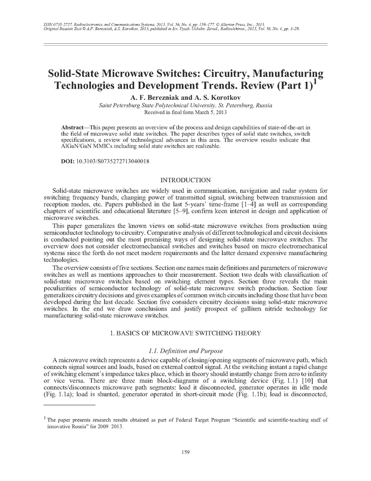 Berezniak, A. Solid-state microwave switches: circuitry, manufacturing technologies and development trends. Review (Part 1) (2013).  doi: 10.3103/S0735272713040018.