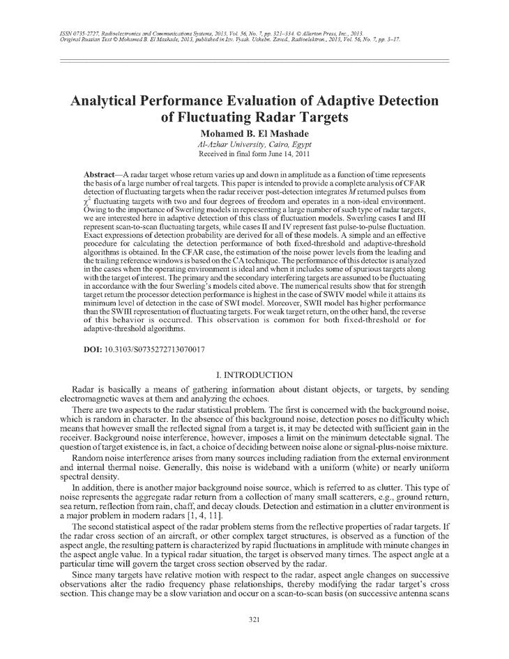 El Mashade, M.B. Analytical performance evaluation of adaptive detection of fluctuating radar targets (2013).  doi: 10.3103/S0735272713070017.