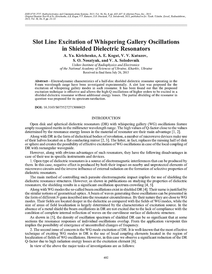 Kirichenko, A.Y. Slot line excitation of whispering gallery oscillations in shielded dielectric resonators (2013).  doi: 10.3103/S0735272713080025.