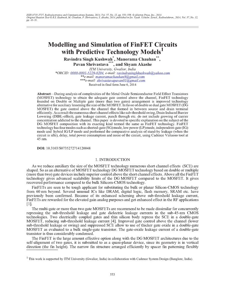 Kushwah, R.S. Modelling and simulation of FinFET circuits with predictive technology models (2014).  doi: 10.3103/S0735272714120048.