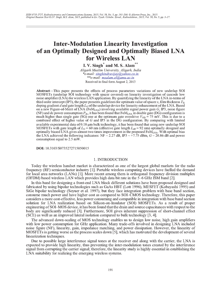 Singh, I.V. Inter-modulation linearity investigation of an optimally designed and optimally biased LNA for wireless LAN (2015).  doi: 10.3103/S0735272715050015.