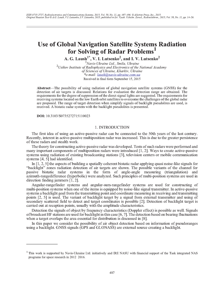 Laush, A.G. Use of global navigation satellite systems radiation for solving of radar problems (2015).  doi: 10.3103/S0735272715110023.